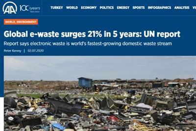联合国:全球2019年产生5360万吨电子垃圾 回收率仅17%